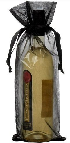 wijnfleszak zwart 15x38cm
