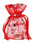 min organza bag heart red small