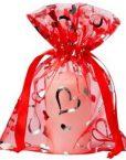 organza zakje met hartjes rood 15x20cm big