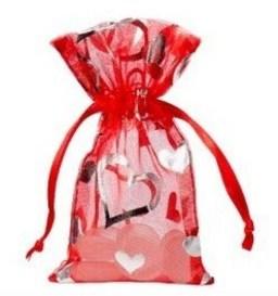 organza zakje met hartjes rood 7x12cm