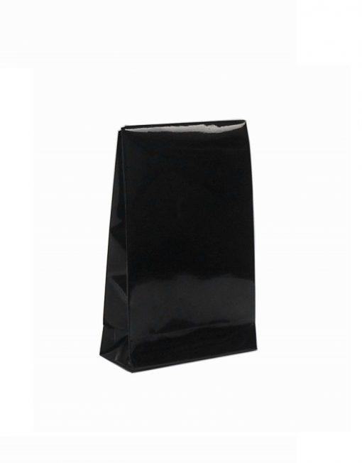 luxe papieren cadaeuzakje met kleefstrip en blokbodem zwart