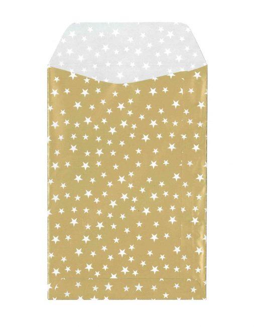 papier cadeauzakje goud met witte sterren