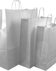 100 stuks Papieren Draagtas wit gedraaid koord diverse maten