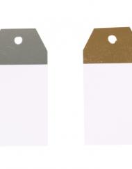 50 stuks Kraft Labels Wit en Zilver of Goud 4,5x9cm